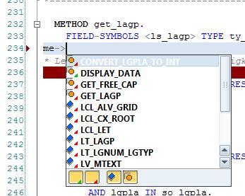 aktive Vorschlagsliste im ABAP Editor