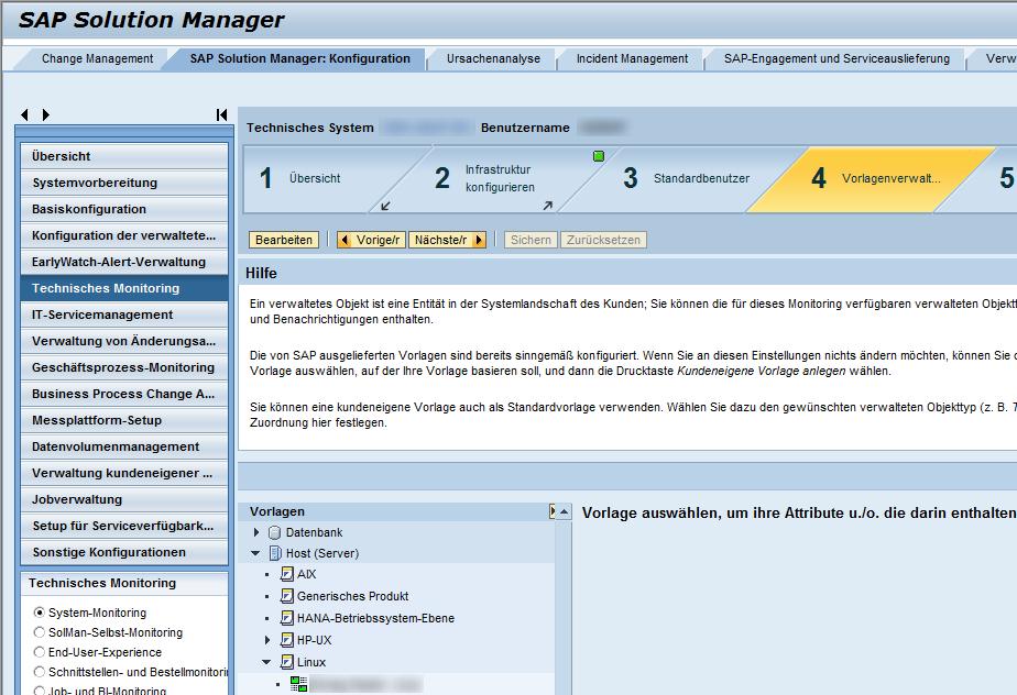 Vorlagenverwaltung des technischen Monitorings