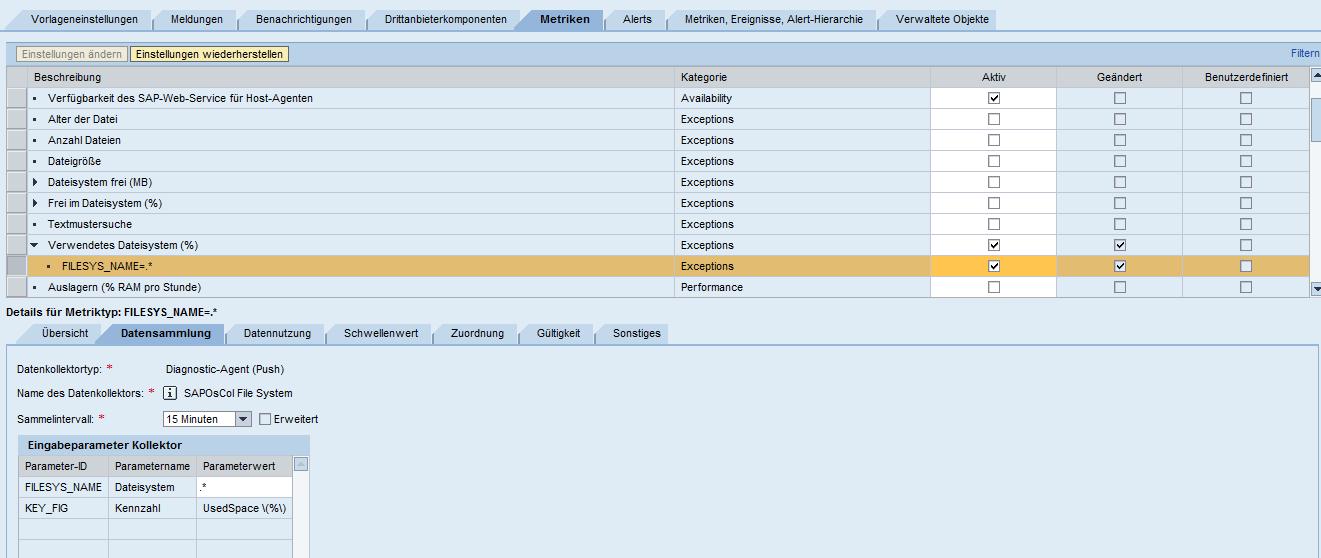 Metrik für Auslastung des Dateisystems