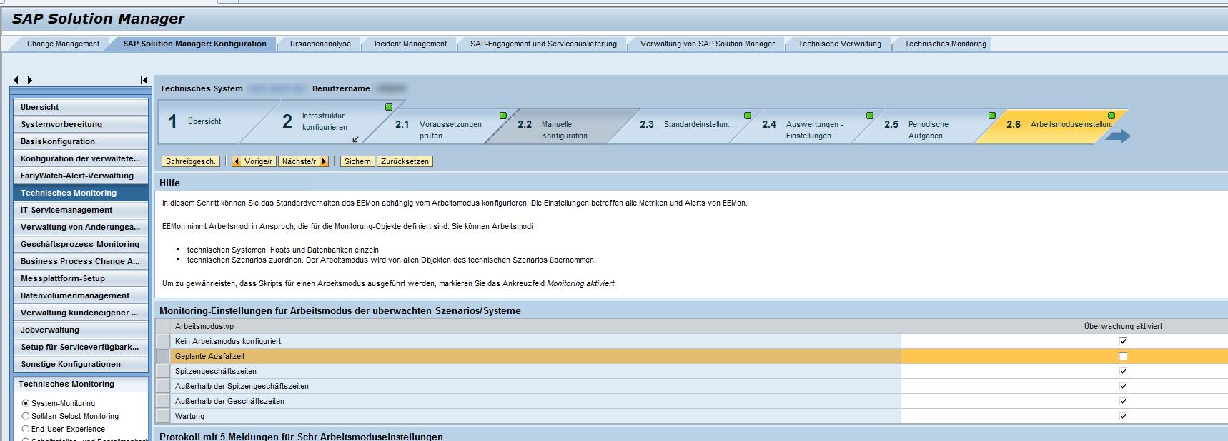 Einstellungen zum Arbeitsmodus im Abschnitt Solution Manager Konfiguration