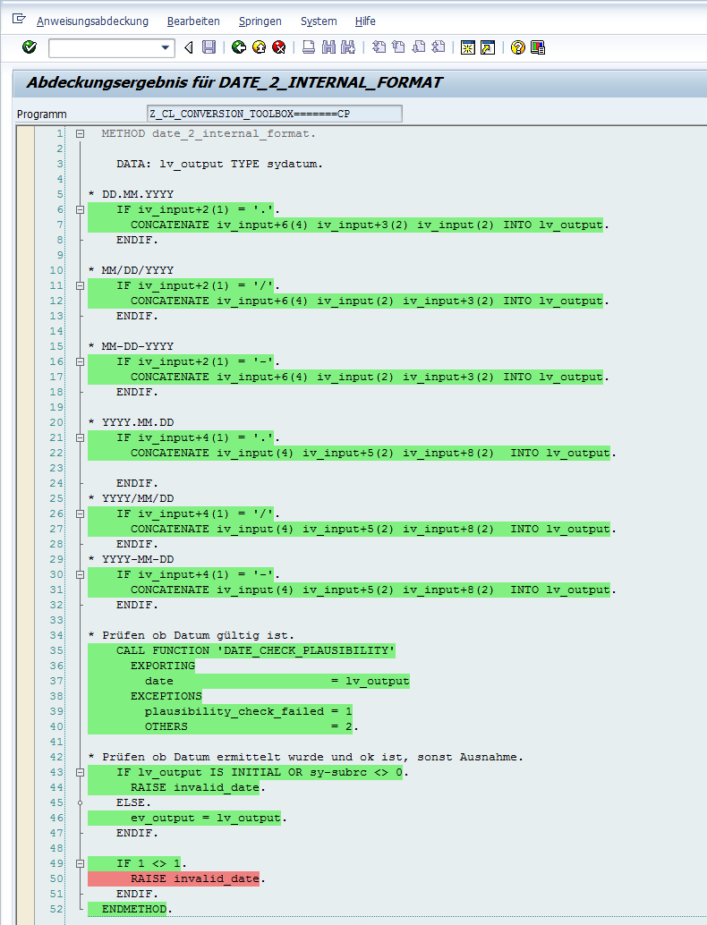 Unit Test Abdeckungsmessung Quellcode