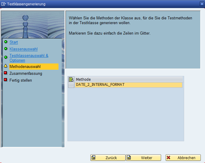 ABAP Unit Test Wizard Methodenauswahl