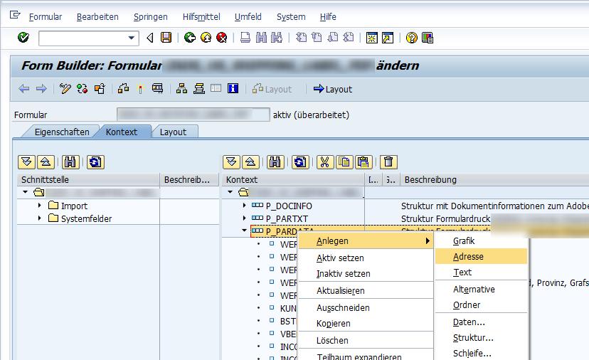 Erstellen des Adress-Knotens im Formularkontext