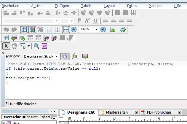Beispiel: verbinden von Tabellenzellen per Script